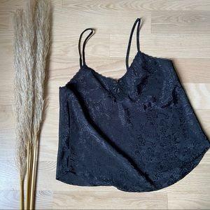 Vintage Black Camisole | Lace trim